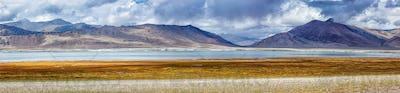 Panorama of mountain lake Tso Kar in Himalayas