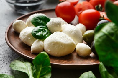 Mozzarella, tomatoes and basil on plate
