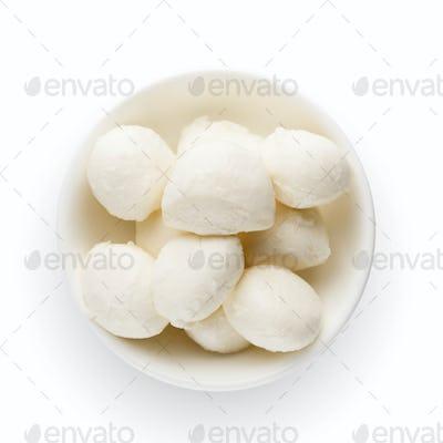 Mozzarella cheese in bowl