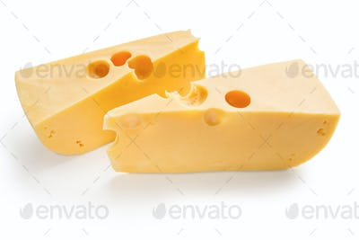 Cheese blocks on white