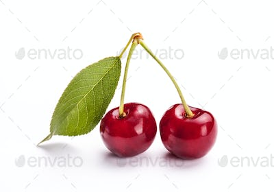 Cherry isolated on wight background, fruits, berries