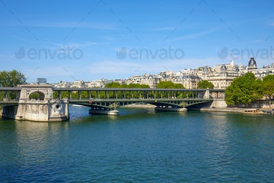 Famous Bir Hakeim bridge view and Seine river in Paris