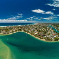 Aerial drone view, Tallebudgera Creek and beach on the Gold Coas