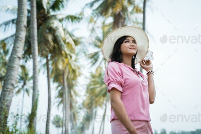 asian woman summer day in tropical island