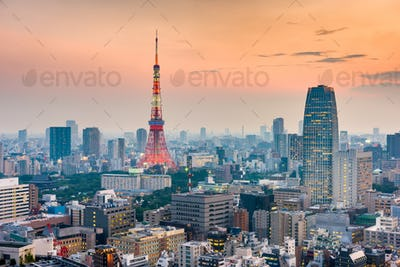Tokyo, Japan cityscape and tower after sunset.