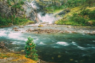 Beautiful Waterfall In The Valley Of Waterfalls In Norway.