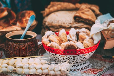 Dishes of the traditional Belarusian cuisine - fresh pastries an