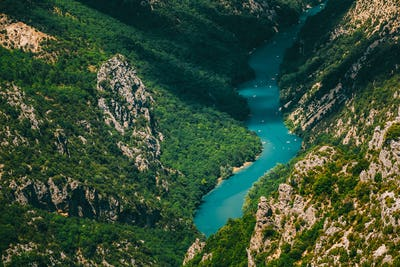 Beautiful landscape of the Verdon Gorge and river Le Verdon in s