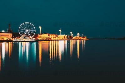 Night Scenery View Of Embankment With Ferris Wheel In Helsinki,