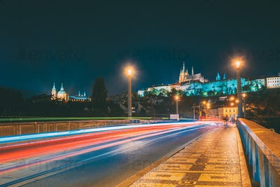 Prague, Czech Republic. Night View To Lesser Town From Manes Bri