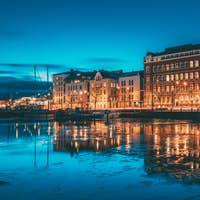 Helsinki, Finland. View Of Pohjoisranta Street In Evening Or Nig