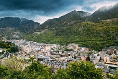 Andorra, Principality Of The Valleys Of Andorra. Top View Of Cit