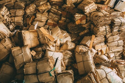 Paper Waste Background. Many Keeping Records In Heap