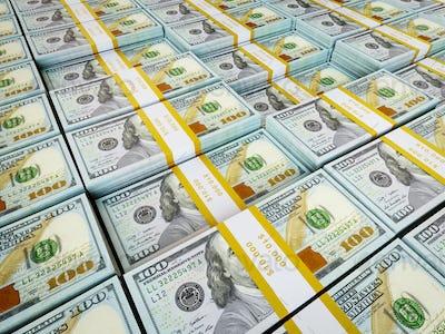 Background - rows of US dollars bundles