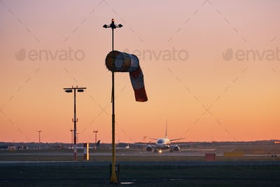 Airport at sunset