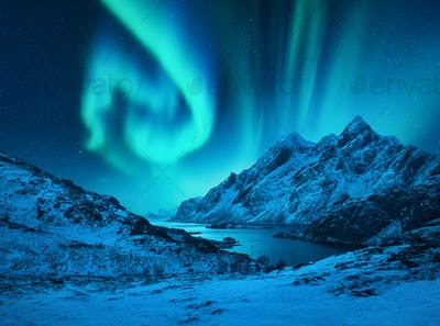 Aurora borealis above the snow covered mountains