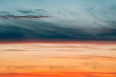 Sunrise Sunset Sky. Bright Dramatic Sky With Colorful Clouds. Ye