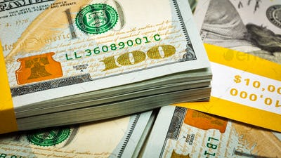 Background of new US dollars banknotes bills
