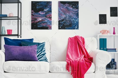 Purple, blue and green pillows