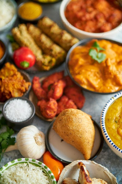 Traditional Indian food in ceramic bowls