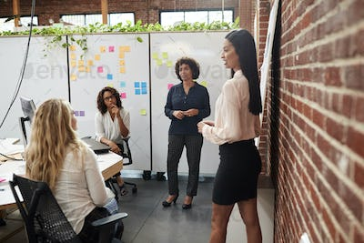Female Creative Team Meeting To Discuss Ideas In Modern Office
