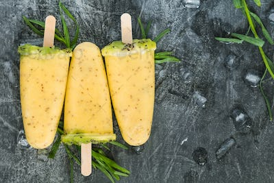Top view of tree summer fruit popsicles