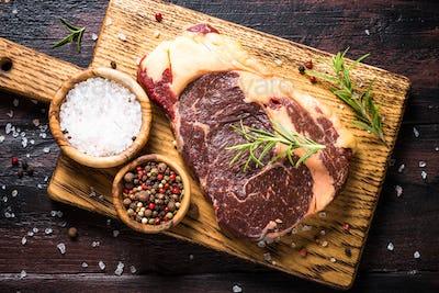 Black angus prime meat - ribeye beef steak