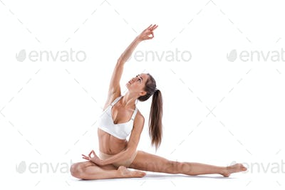 Sporty fit beautiful woman in sportswear working out isolated white background.