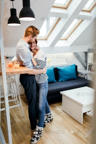 Couple in love hugging
