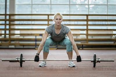 female athlete exercise deadlift
