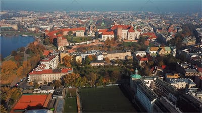 Aerial View of Krakow, Wawel, Royal Castle, Poland