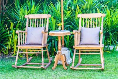 Empty wood chair outdoor garden