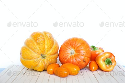 Orange vegetables on a wooden.