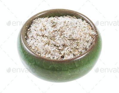 ceramic salt cellar with seasoned salt with spices