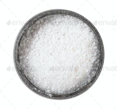 top view of old silver salt cellar with Rock Salt