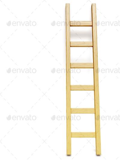 Wooden ladder near white wall