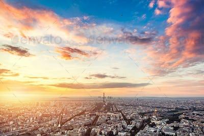 Paris, France at sunset.