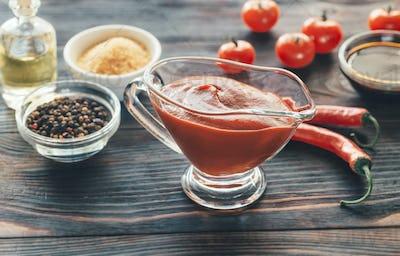 Barbecue sauce in gravy boat