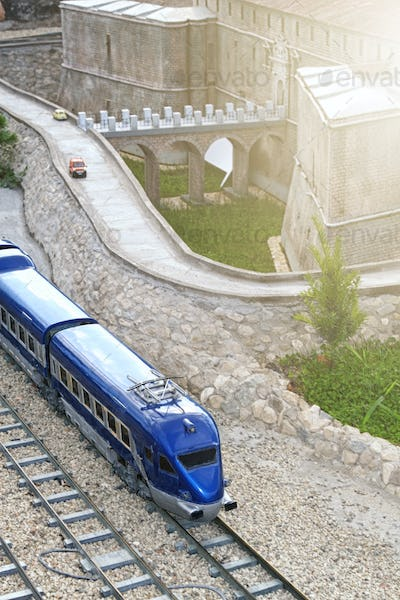 A miniature model of the railway.