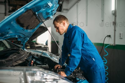Mechanic makes visual inspection of the car engine