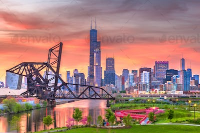 Chicago, Illinois, USA park and downtown skyline