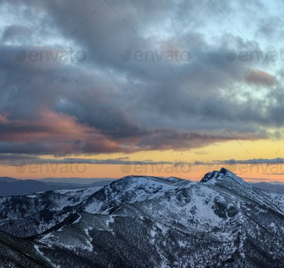 Golden clouds at sunset over the Ancares mountain range