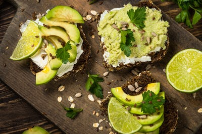 Sandwiches with avocado and cream cheese
