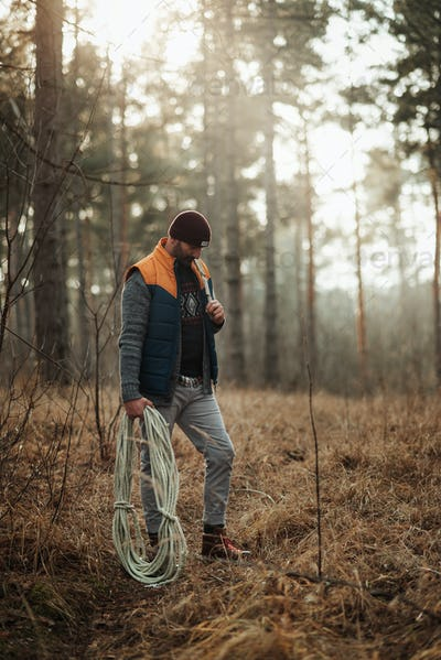 30-40 years old man hiker in the forest