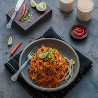 Indian mee goreng or mee goreng mamak, Indonesian and Malaysian cuisine, spicy fried noodles in a