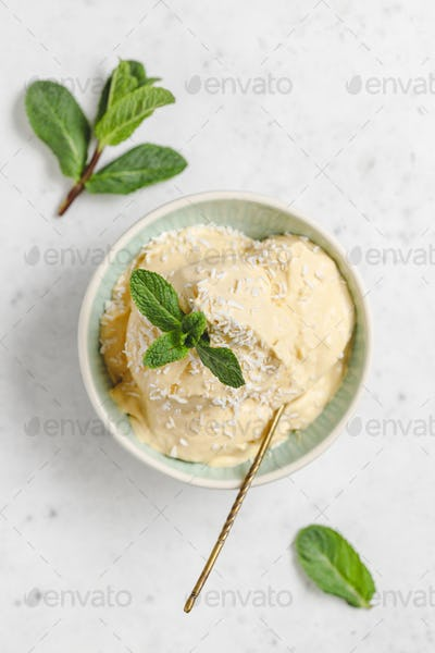 Top view of homemade vegan ice cream