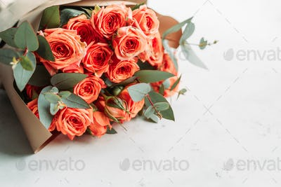 Coral roses beautiful spring bouquet