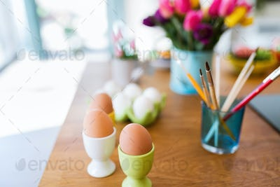 Painting easter eggs. Easter celebration concept
