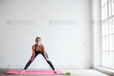 Woman doing fitness exercise.
