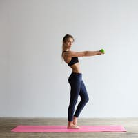 Woman with dumbbells. Workout.